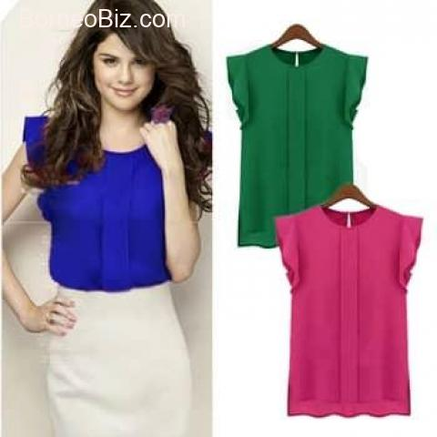 Women Summer Short Sleeve Chiffon Blouse