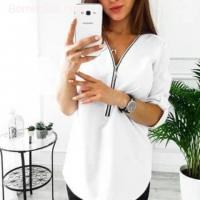 Zipper Short Sleeve Women Shirts Sexy V Neck Solid Womens Tops Blouse