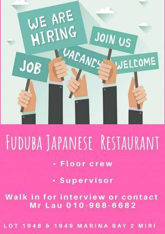 Floor Crew / Supervisor Wanted - Fuduba Japanese Restaurant
