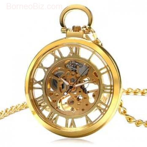 Luxury Golden Transparent Skeleton Steampunk Mechanical Hand Wind PocketWatch Pocket Watch Open Face